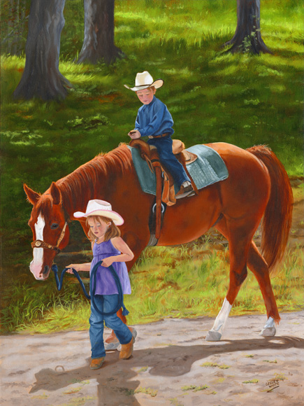 The Riding Lesson - <div>24 x 18<br />$1,265.00 (framed)</div>