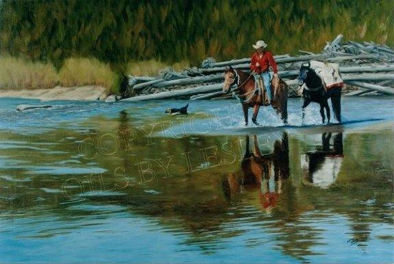 Crossing The Cottonwood -  Original: Sold  Limited Edition Artist Proofs (100)  Image size: 20 x 30  Price: $150.00